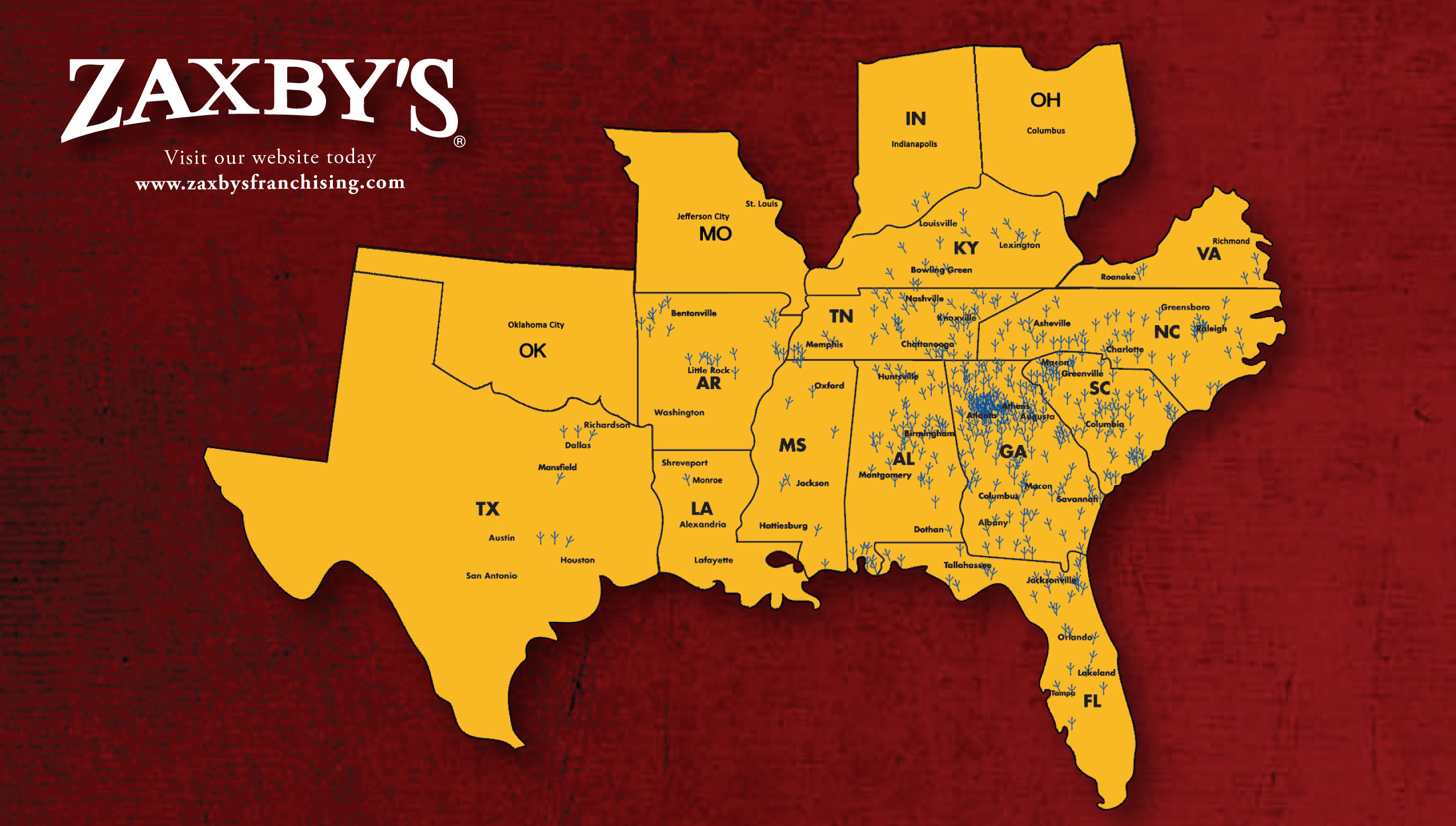 ck/ - Food & Cooking Zaxbys Map on chic fil a map, quiznos map, kfc map, petco map, little caesars map, bojangles map, motel 6 map, golden corral map, panera bread map, ihop map, papa johns map, longhorn steakhouse map, chuck e cheese map, cici's pizza map, chipotle map,